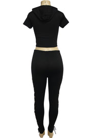 Women's Cross Tied Fashion Set Black (MARTINA-30) - Zamage