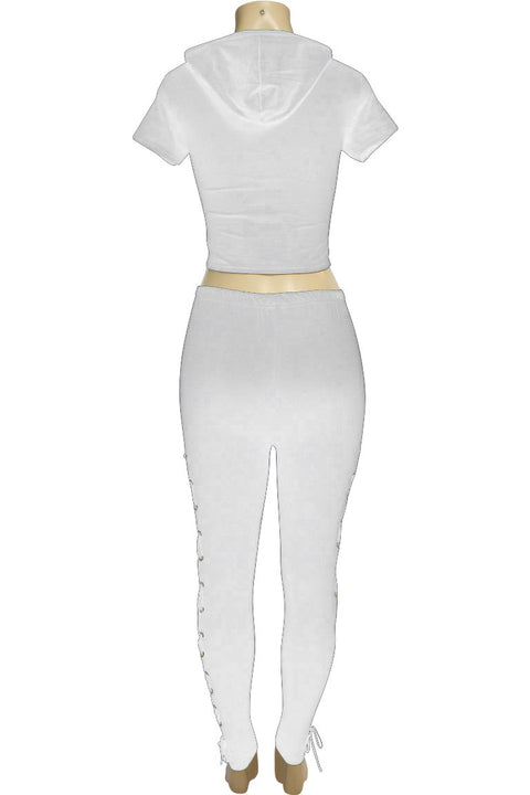 Women's Cross Tied Fashion Set White (MARTINA-30) - Zamage
