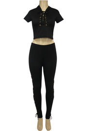 Women's Cross Tied Fashion Set Black (MARTINA-30)