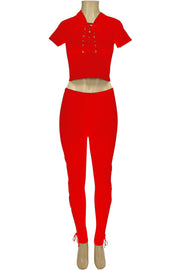 Women's Cross Tied Fashion Set Red (MARTINA-30)