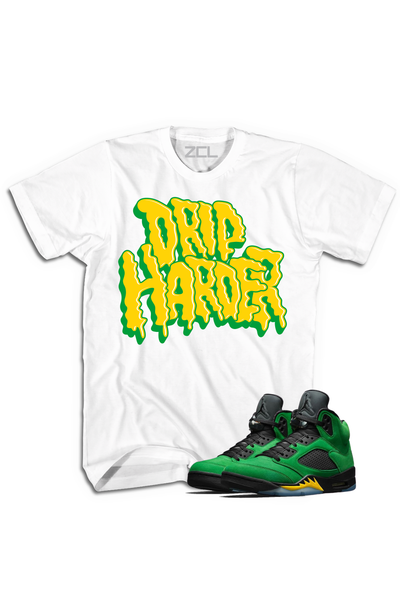 "Air Jordan 5 ""Drip Harder"" Tee Oregon Apple Green - Zamage"