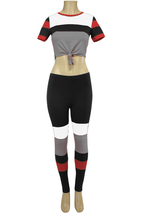 Women's Color Block Track Set Black - Red - White (PINK-30)