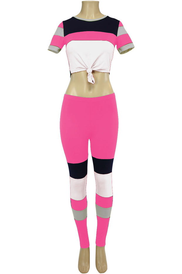 Women's Color Block Track Set Hot Pink - White (PINK-30)