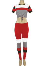 Women's Color Block Track Set Red - White - Grey (PINK-30)