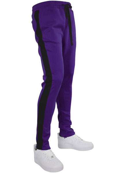 Solid One Stripe Track Pants Purple - Black (100-401)