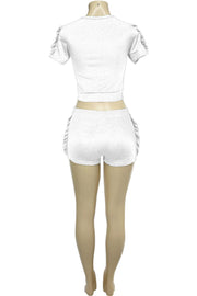 Women's Ruffled Fashion Set White (RUFFLE-24)