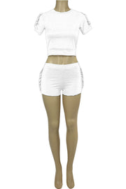 Women's Ruffled Fashion Set White (RUFFLE-24) - Zamage