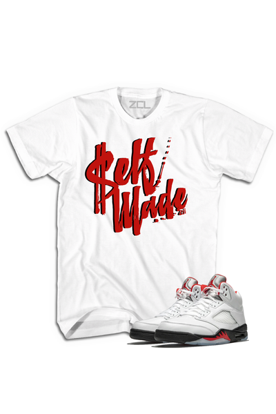 "Air Jordan 5 Retro ""Self Made"" Tee Fire Red - Zamage"
