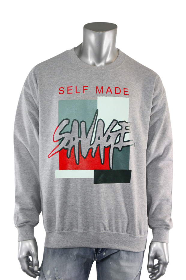 Self Made Savage Crewneck Heather Grey (9157CF) - Zamage