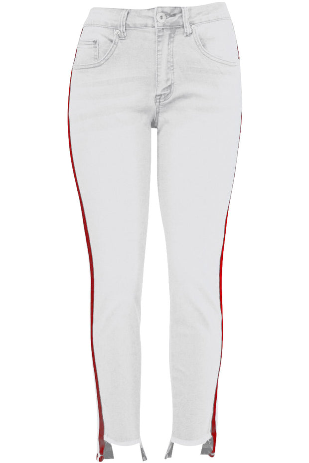 Women's Side Stripe Denim White (PA822)
