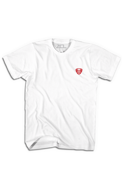 Embroidered ZCL Logo Tee White - Red - Zamage