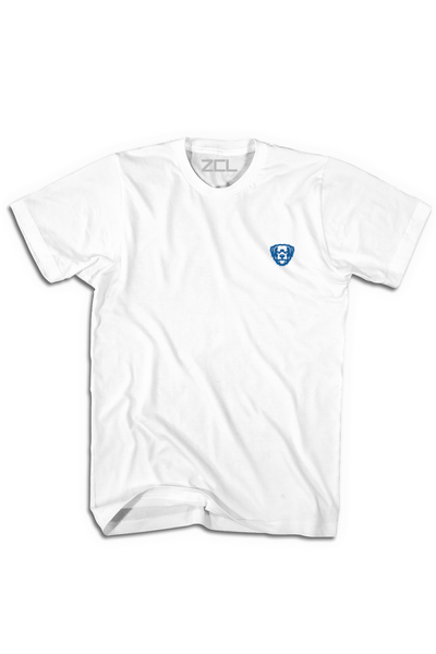 Embroidered ZCL Logo Tee White - Royal - Zamage
