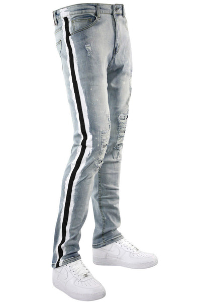 Side Paint Stripe Track Denim Stone Wash - Black (ZCM4764D)
