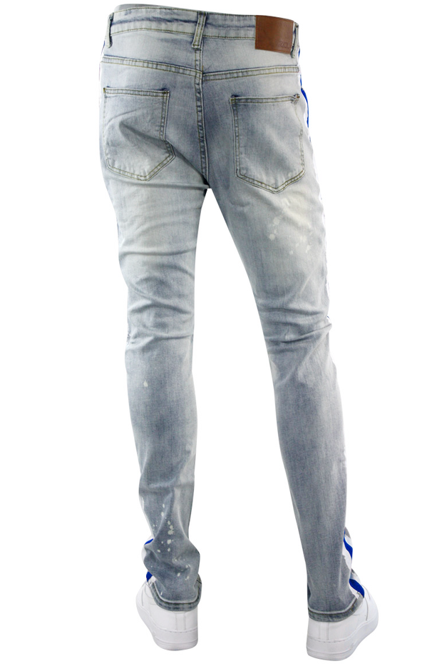 Side Paint Stripe Track Denim Stone Wash - Blue (ZCM4764D) - Zamage