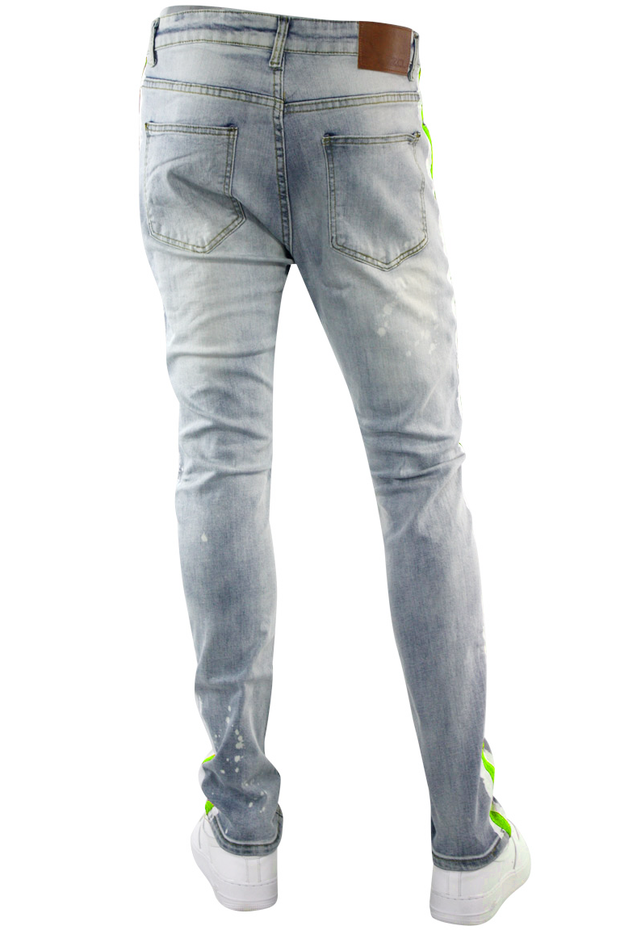 Side Paint Stripe Track Denim Stone Wash - Green (ZCM4764D)