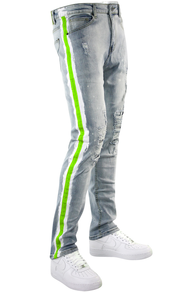 Side Paint Stripe Track Denim Stone Wash - Green (ZCM4764D) - Zamage