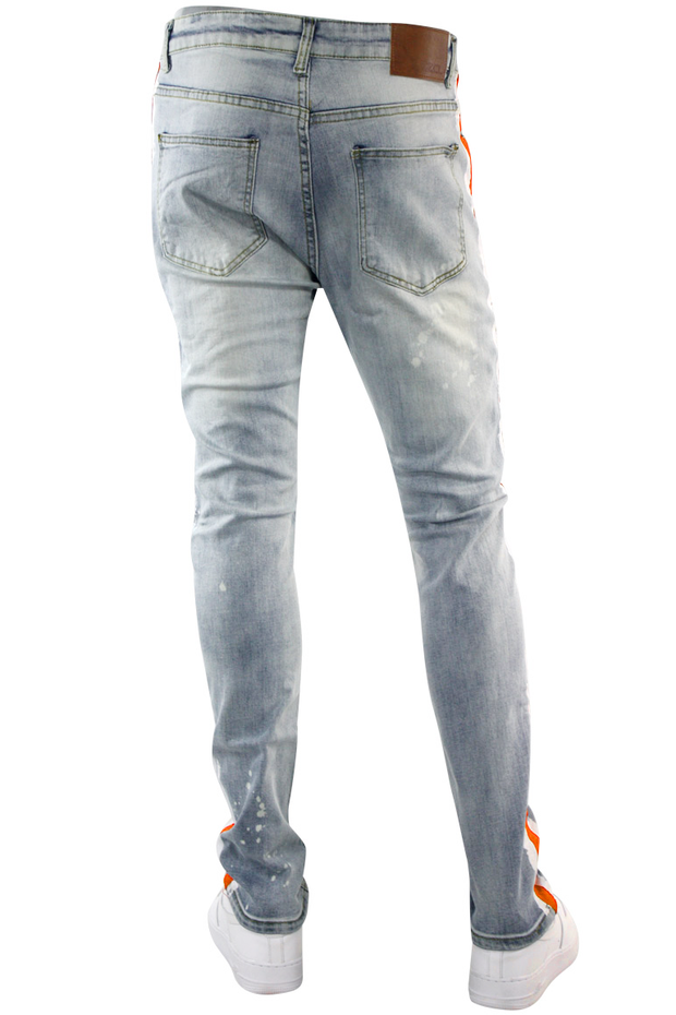 Side Paint Stripe Track Denim Stone Wash - Orange (ZCM4764D) - Zamage