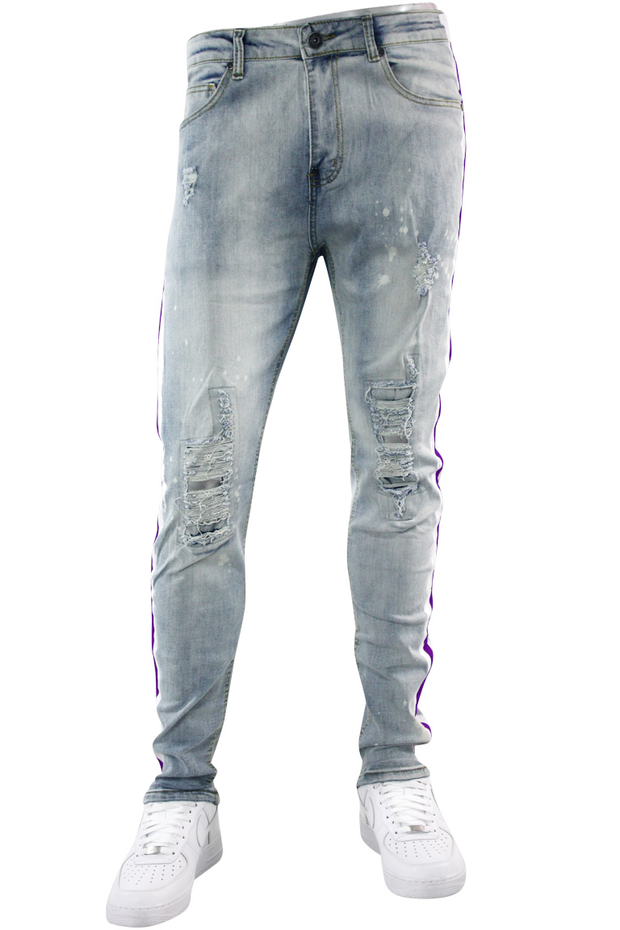 Side Paint Stripe Track Denim Stone Wash - Purple (ZCM4764D) - Zamage