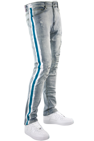 Side Paint Stripe Track Denim Stone Wash - Teal (ZCM4764D) - Zamage