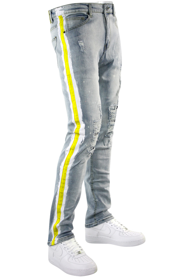 Side Paint Stripe Track Denim Stone Wash - Gold (ZCM4764D) - Zamage