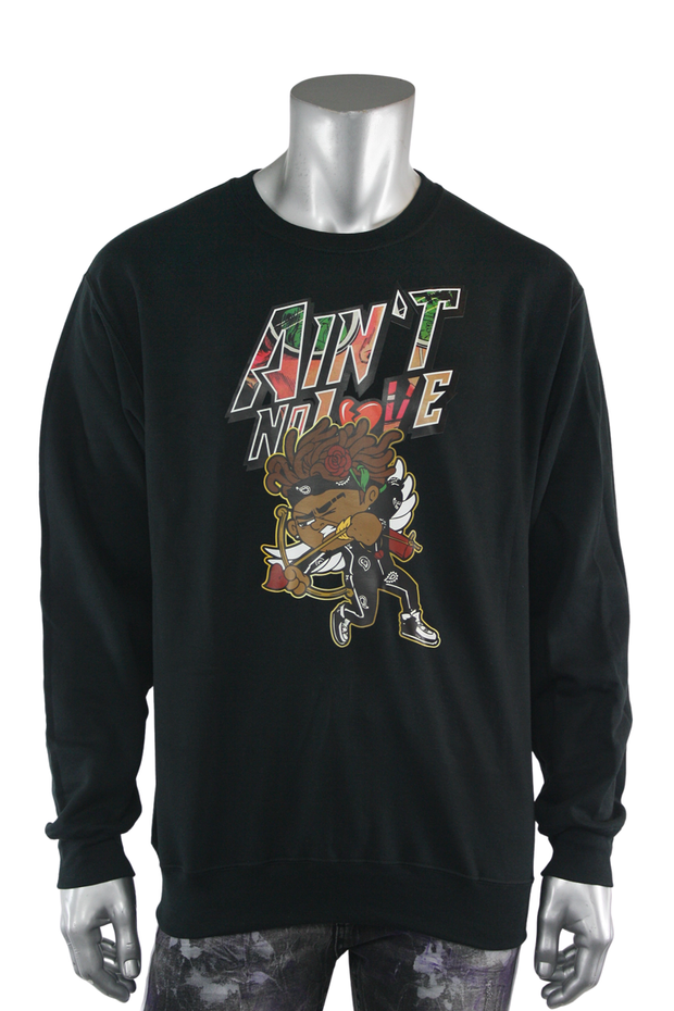 Aint No Love Cupid Fleece Crewneck Black (DS6065) - Zamage