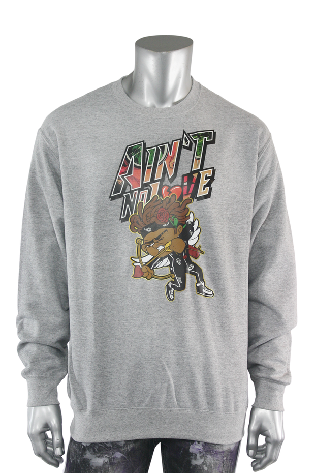 Aint No Love Cupid Fleece Crewneck Athletic Grey (DS6065) - Zamage