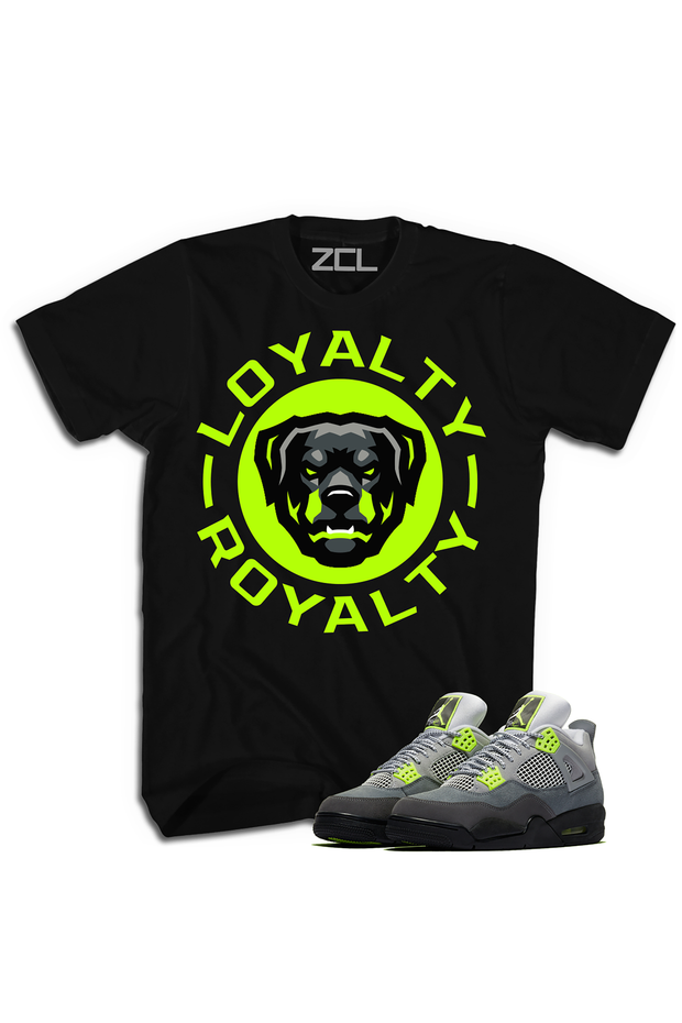 "ZCL Loyalty-Royalty ""Jordan 4 Retro Neon Green"" HookUp Tee Black - Zamage"