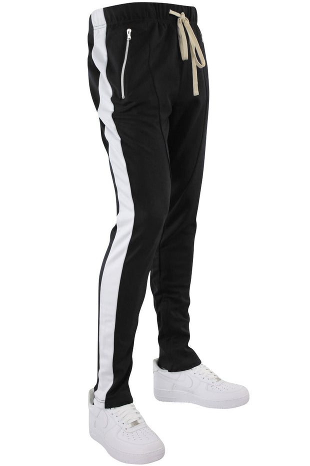 b3a71a9b3 Premium Side Stripe Zip Pocket Track Pants Black - White (ZCM4418Z)