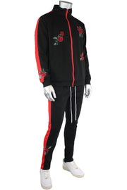 Side Stripe Rose Embroidered Track Pants Black - Red (P877) - Zamage