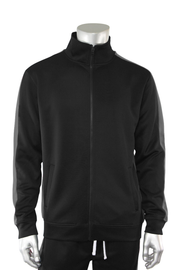 Solid One Stripe Track Jacket Black - Charcoal (100-501) - Zamage
