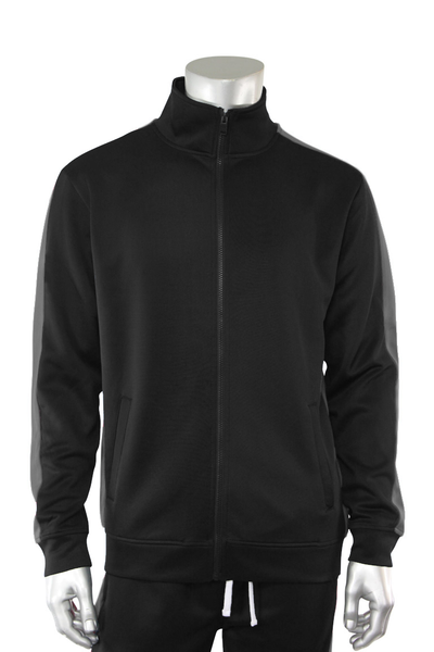 Solid One Stripe Track Jacket Black - Charcoal (100-501)