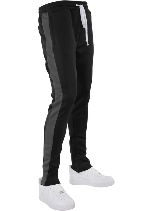 Solid One Stripe Track Pants Black - Charcoal (100-401) - Zamage