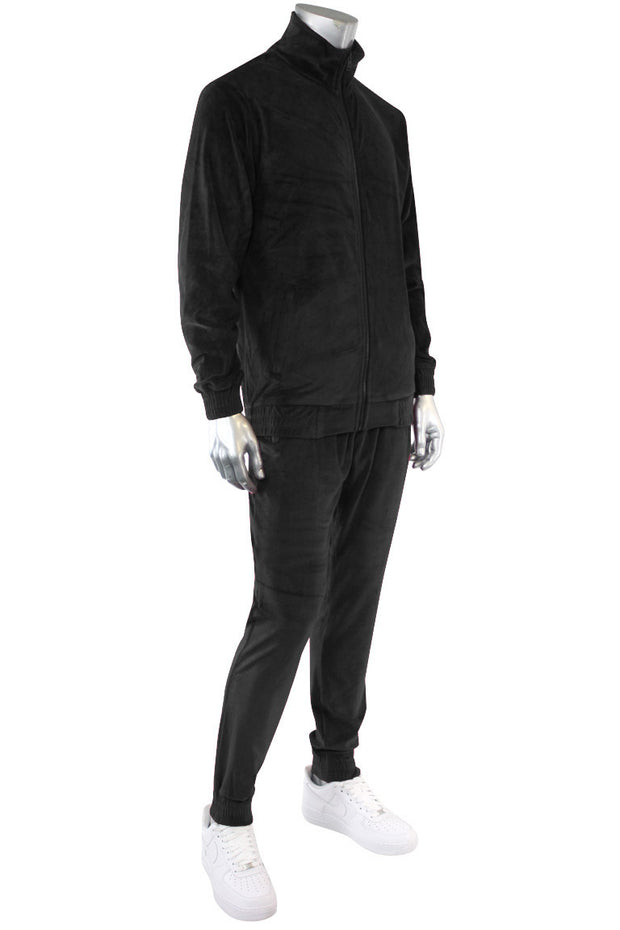 Velour Full Zip Jacket Black (1A2-510) - Zamage