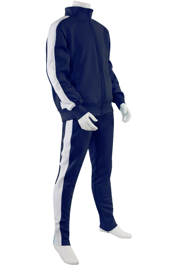 Boys Track Suit Navy - White (800-801) - Zamage