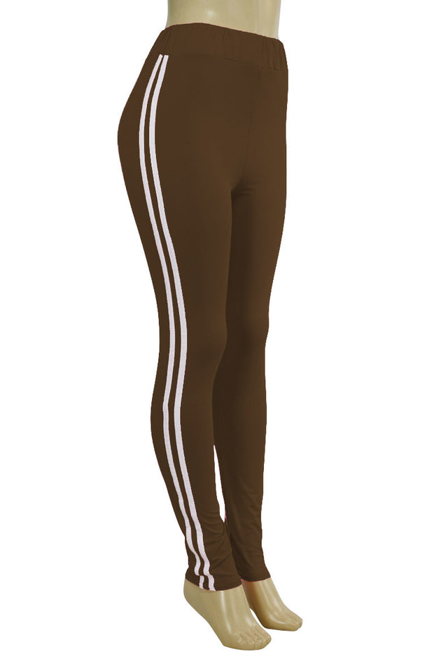 Side Stripe Leggings Brown - White (MADISON-84)