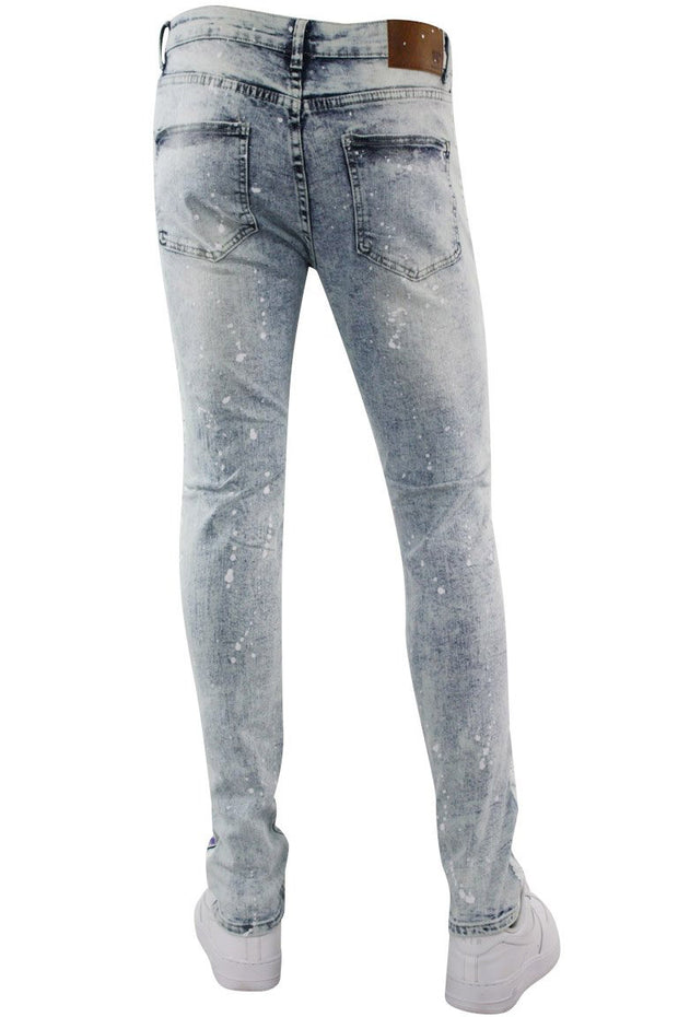 Cracked Side Stripe Skinny Fit Track Denim Snow - Purple (M4839D) - Zamage