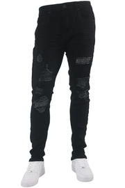 Ripped Crystal Stripe Denim Black - White (CRYSTAL22S)