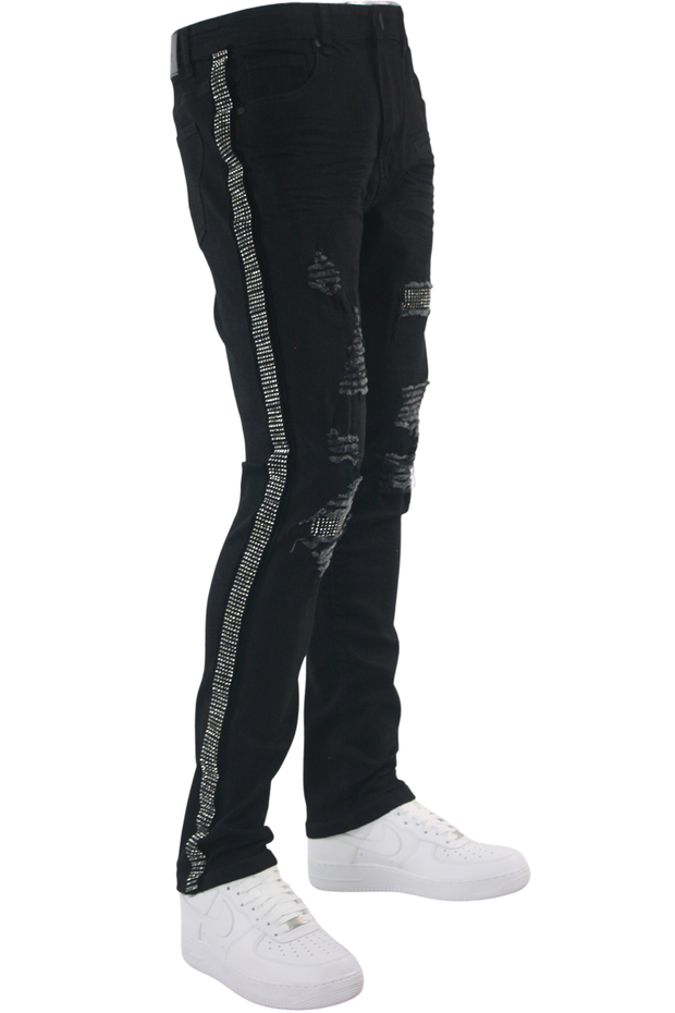 Ripped Rhinestone Stripe Denim Black - White (ZCM4228C) - Zamage