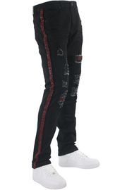 Ripped Rhinestone Stripe Denim Black - Red (ZCM4228C) - Zamage