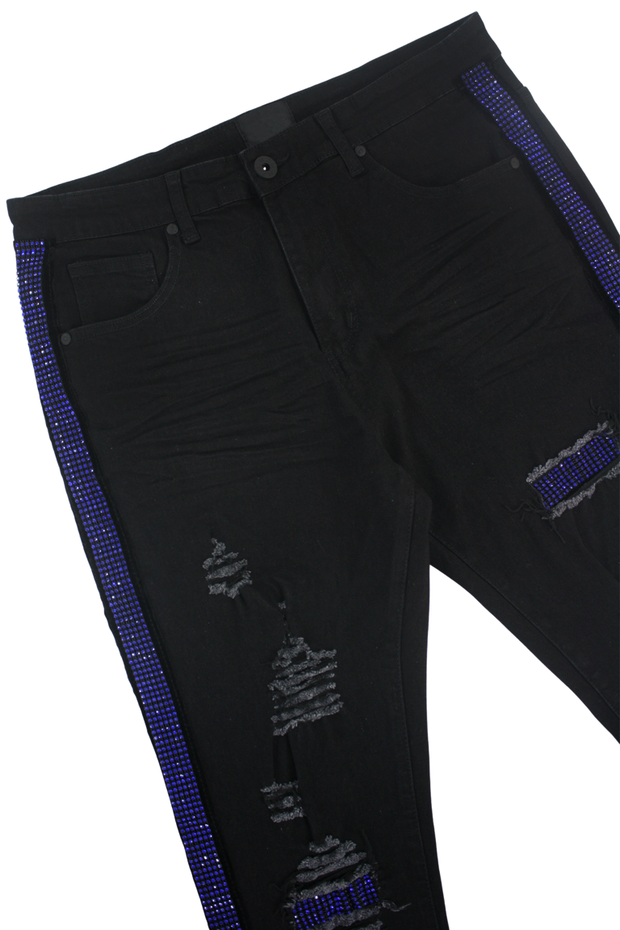 Ripped Rhinestone Stripe Denim Black - Royal Blue (ZCM4228C) - Zamage