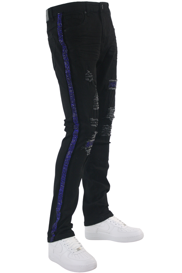 Ripped Crystal Stripe Denim Black - Royal Blue (CRYSTAL22S)