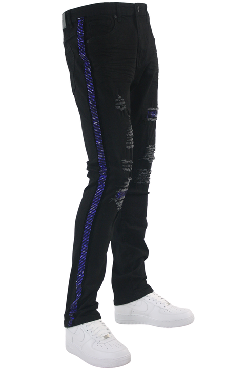 Ripped Crystal Stripe Denim Black - Royal Blue (ZCM4228C) - Zamage