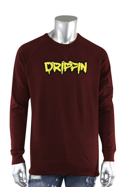 Embroidered Chenille Drippin French Terry Crewneck Burgundy (8898FT)