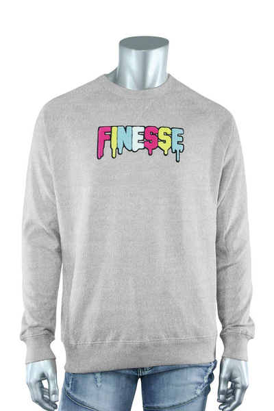 Embroidered Chenille Finesse French Terry Crewneck Heather Grey (8688FT) - Zamage