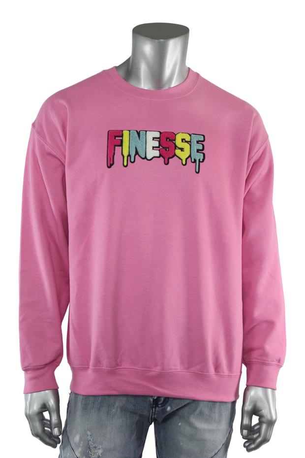 Embroidered Chenille Finesse Sweatshirt Azalea (8688CF) - Zamage