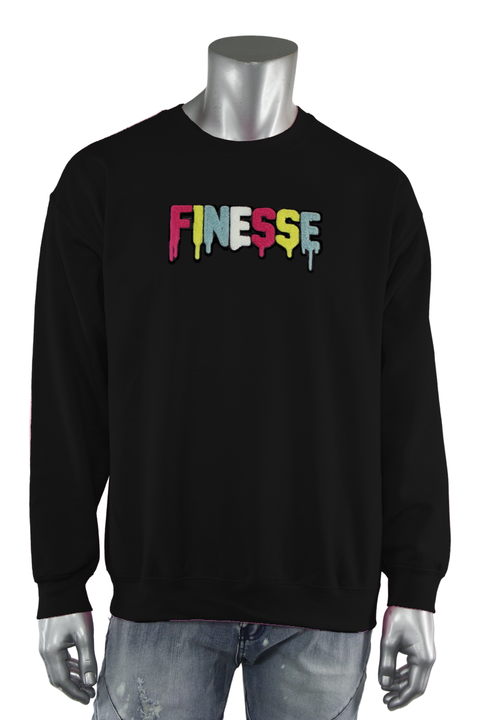 Embroidered Chenille Finesse Sweatshirt Black (8688CF)