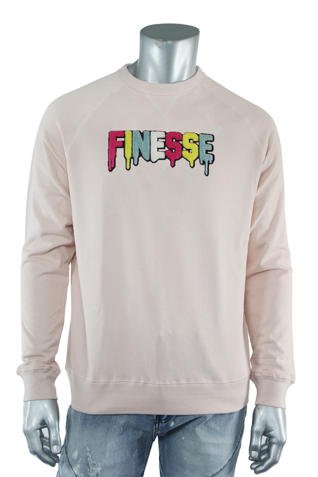 Embroidered Chenille Finesse French Terry Crewneck Dust Pink (8688FT)