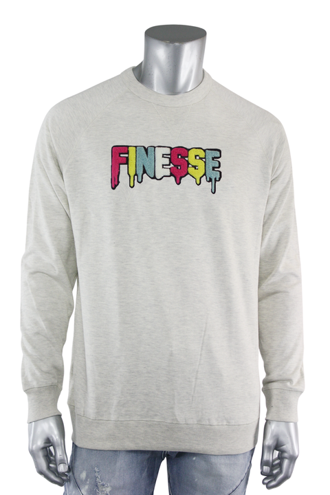 Embroidered Chenille Finesse French Terry Crewneck Oatmeal (8688FT) - Zamage