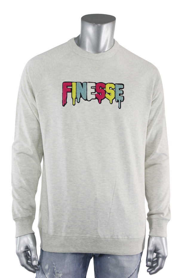 Embroidered Chenille Finesse French Terry Crewneck Oatmeal (8688FT)