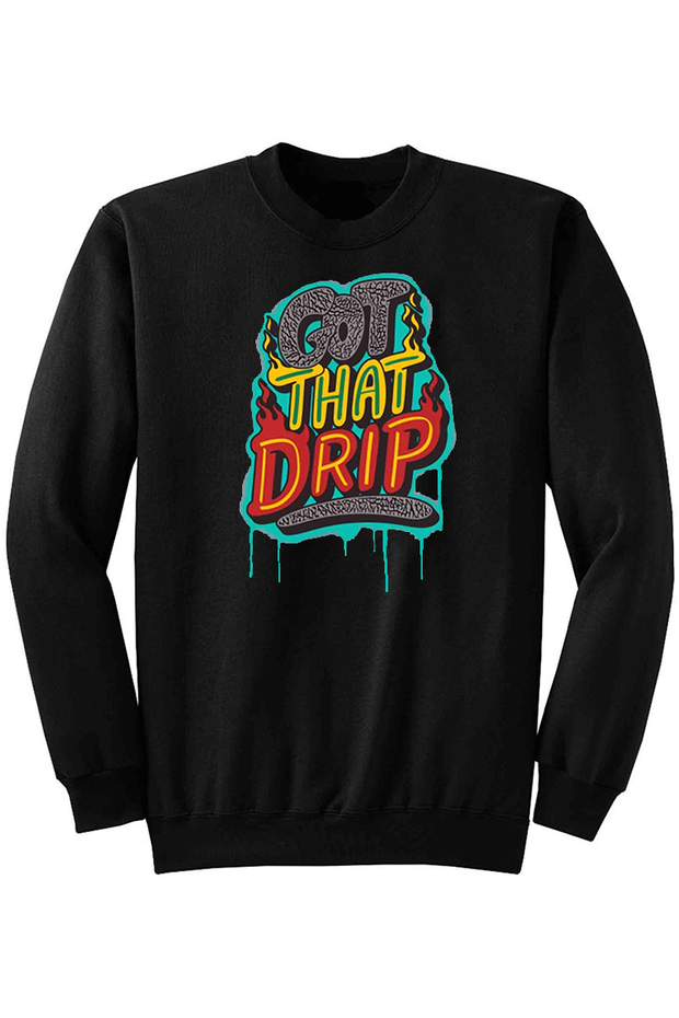 Got That Drip Fleece Crewneck Black (DS6057) - Zamage